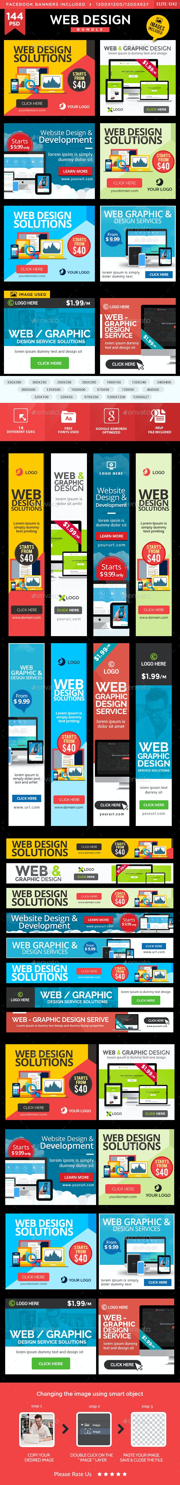 Web & Graphic Banners Bundle - 8 Sets - 144 Banners - Banners & Ads Web Elements