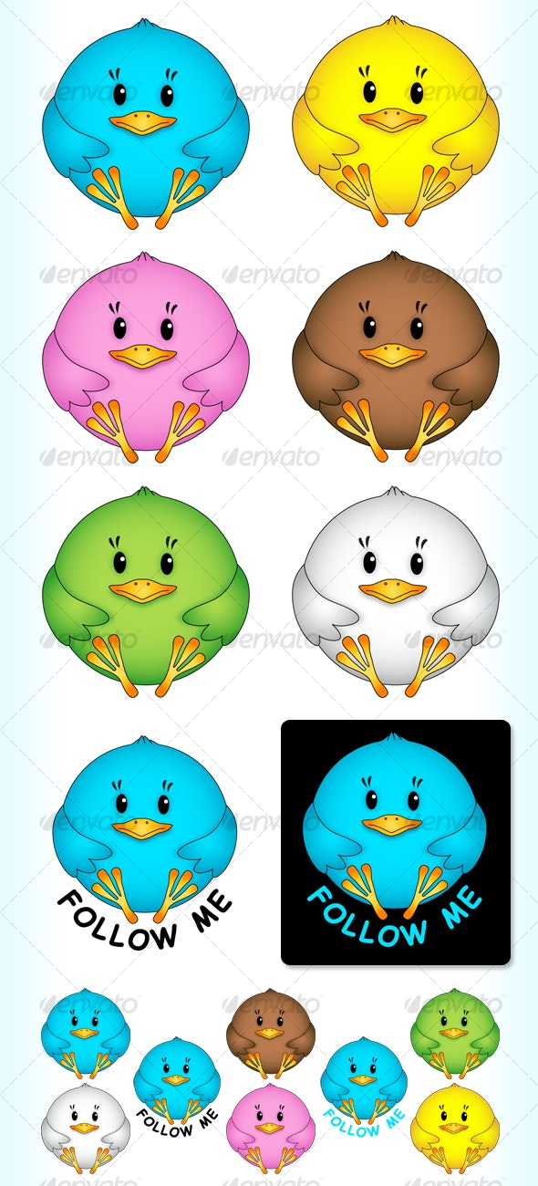 Little birdie - vector & png - Animals Characters
