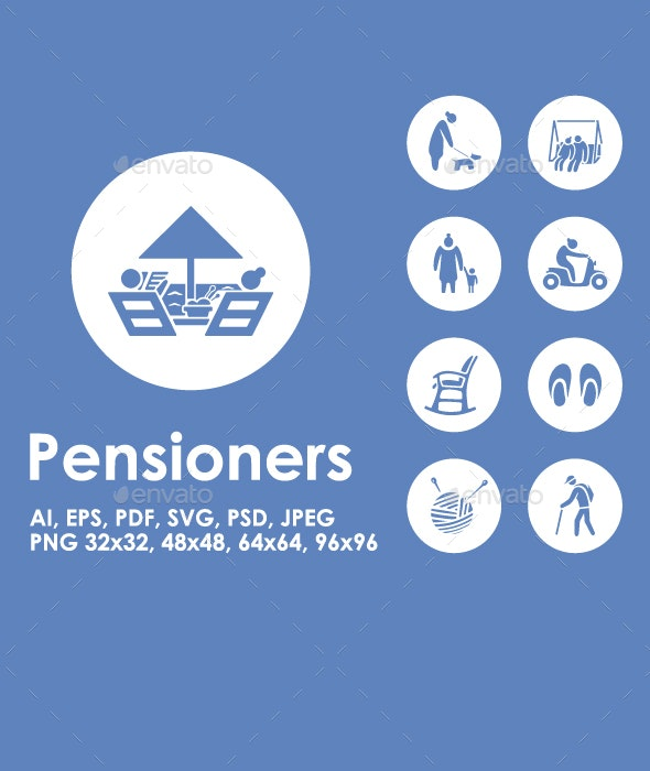 Pensioners icons - People Characters
