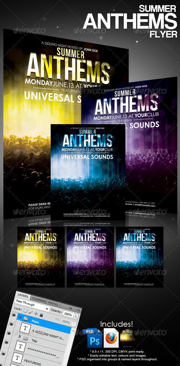 Summer Anthems Flyer - Clubs & Parties Events