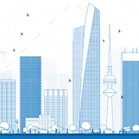 Outline Kuwait City Skyline with Blue Buildings