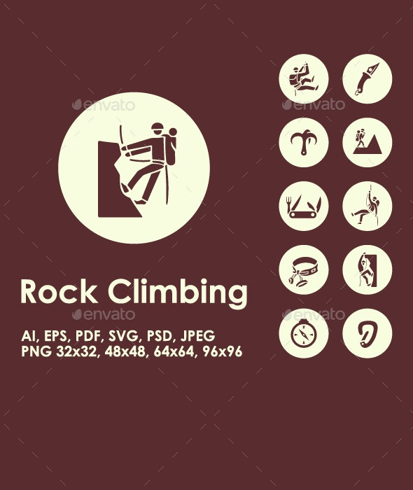 30 Rock Climbing icons - Objects Icons