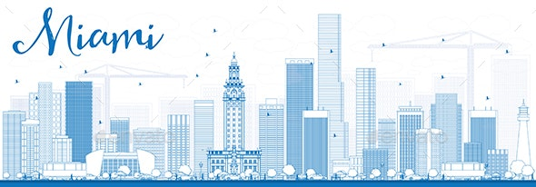 Outline Miami Skyline with Blue Buildings - Buildings Objects