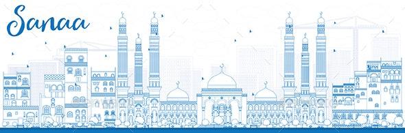 Sanaa Yemen Skyline with Blue Buildings - Buildings Objects