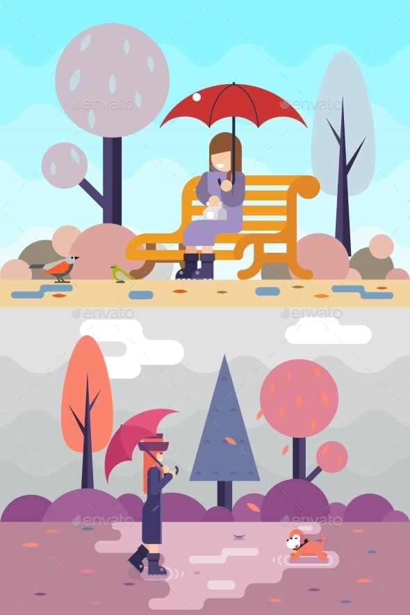 Girl Sits on Bench and Watches Birds - People Characters