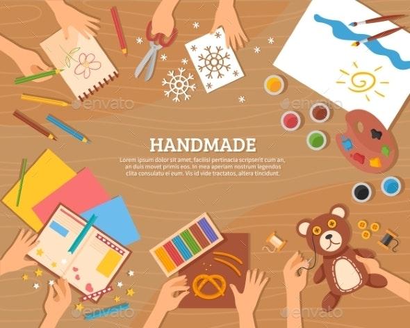 Handmade Concept in Flat Style - Decorative Symbols Decorative