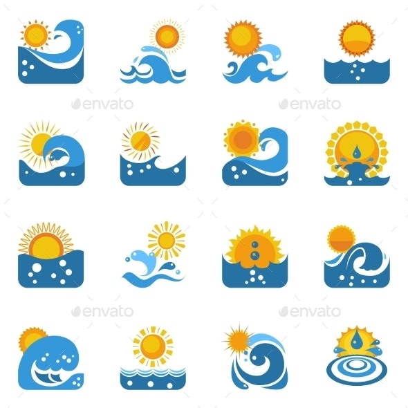Blue Wave With Sun Icons Set - Seasonal Icons
