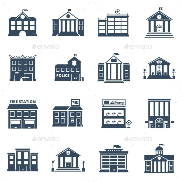 Government Building Black Icons Set - Buildings Objects