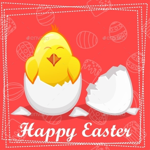 Yellow Cartoon Chicken in an Egg  - Backgrounds Decorative