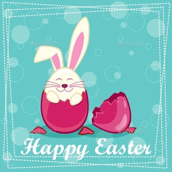 Happy Rabbit in an Egg  - Birthdays Seasons/Holidays