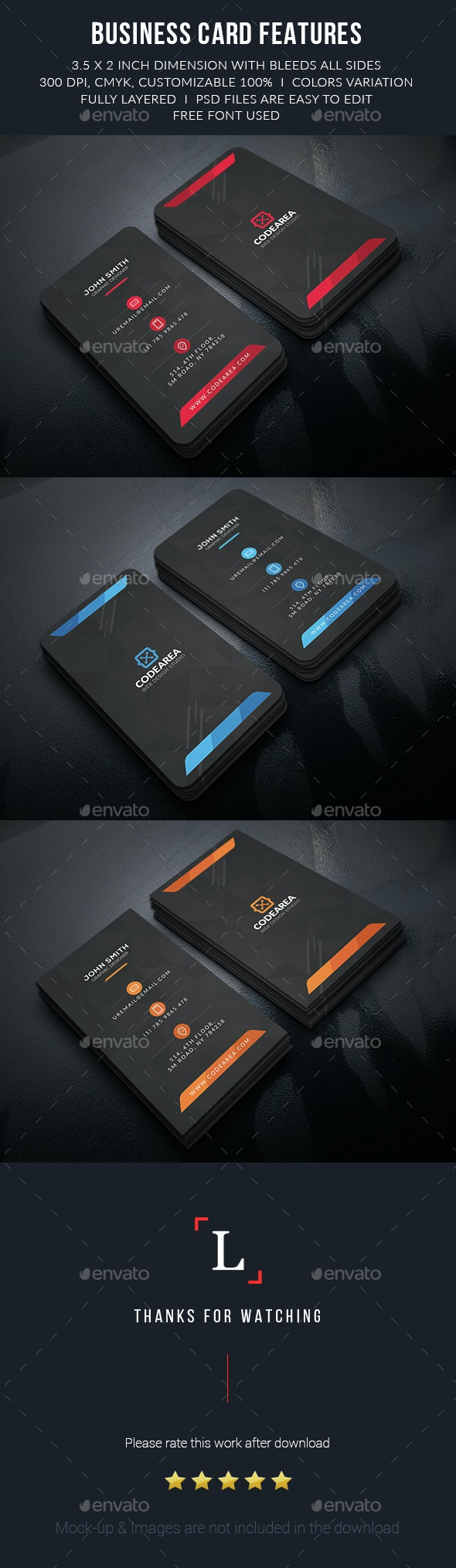 Black Creative Business Card - Business Cards Print Templates