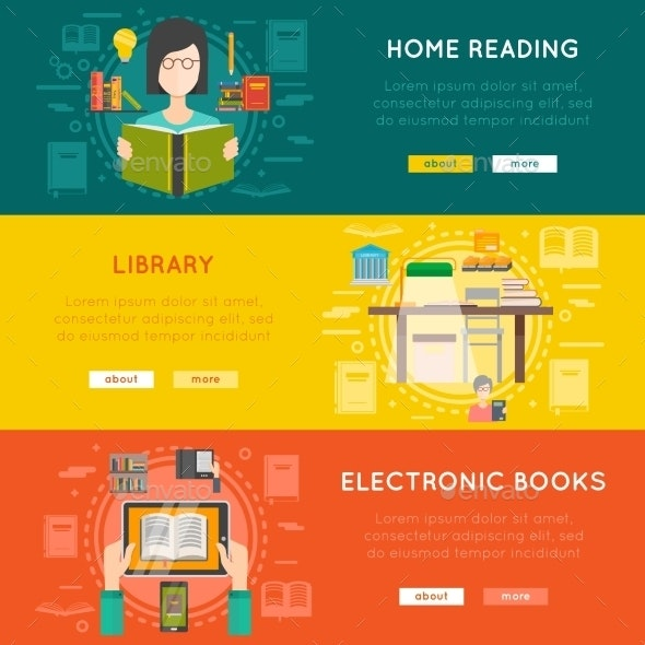 Library Banner Set - Backgrounds Decorative
