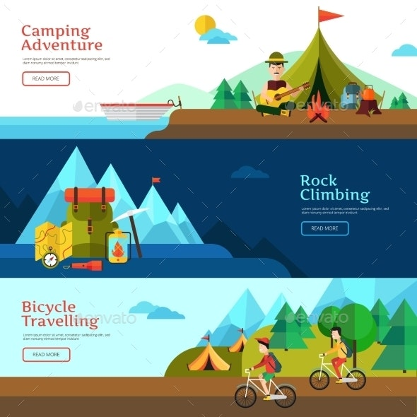 Camping Flat Banner Set - Travel Conceptual