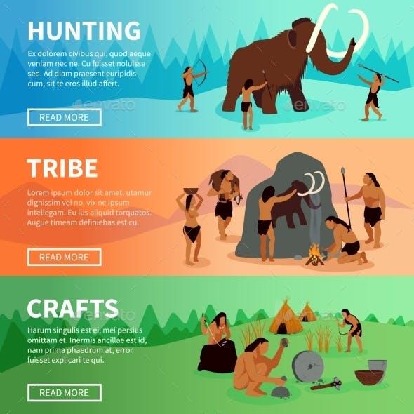 Prehistoric Stone Age Caveman Banners