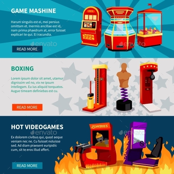 Game Machine Banners Set - Industries Business