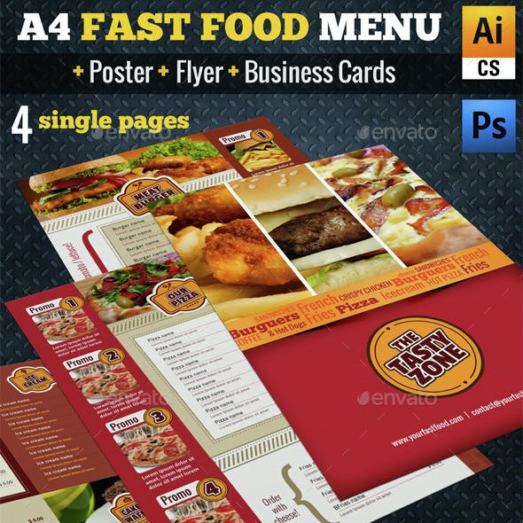 A4 Fast Food Menu + Poster + Flyer + Cards