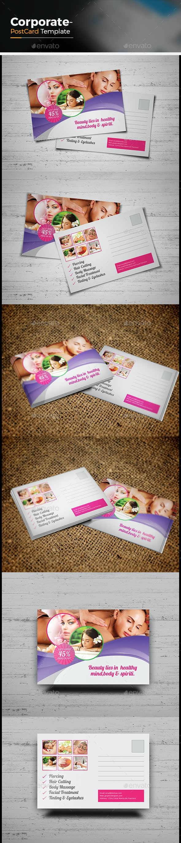 Beauty & Spa Postcard Template - Cards & Invites Print Templates