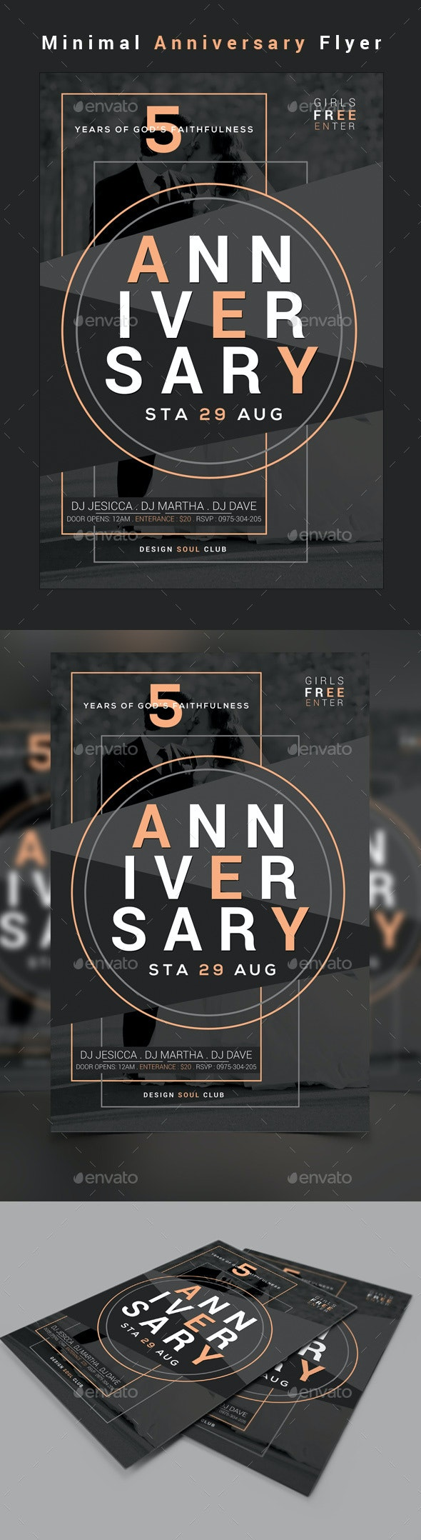 Minimal Anniversary Flyer - Clubs & Parties Events