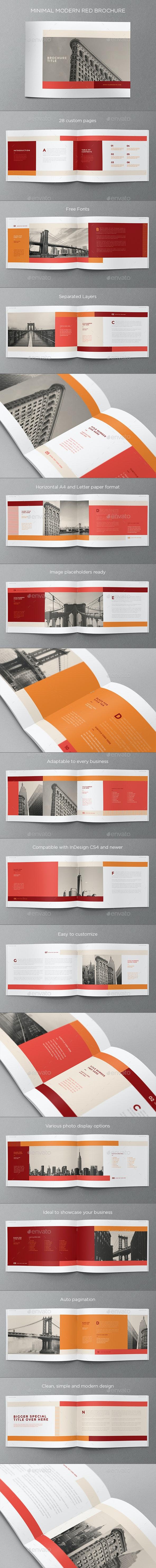 Minimal Modern Red Brochure - Brochures Print Templates