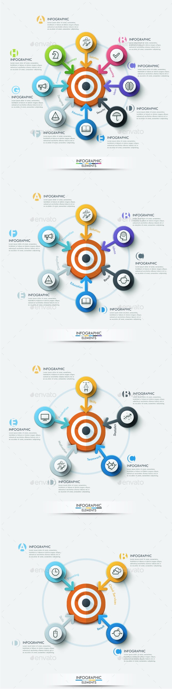 Modern Infographic Target Marketing Concept (4 Items) - Infographics