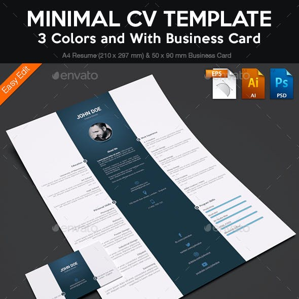 Minimal CV Template wiht Business Card (3 Colors)