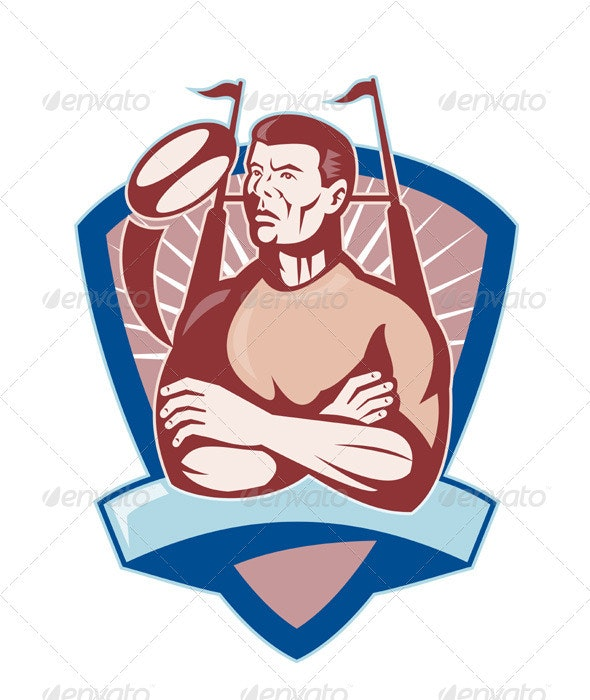 Rugby Player Shield Goal Post Retro - People Characters