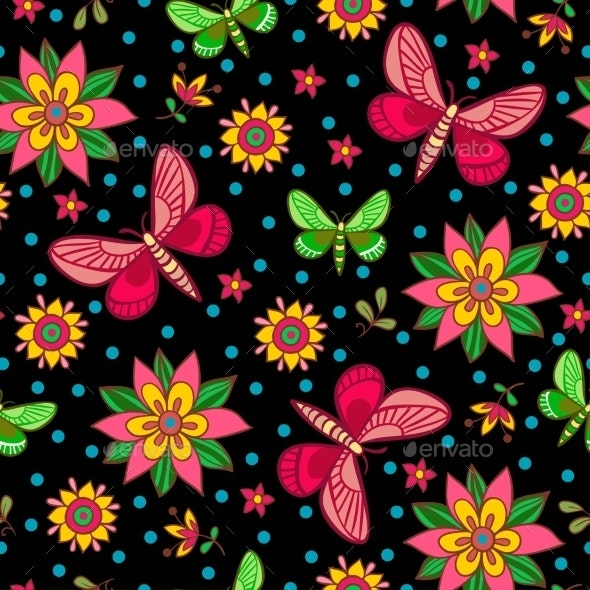 Seamless Pattern with Flowers and Butterflies - Flowers & Plants Nature