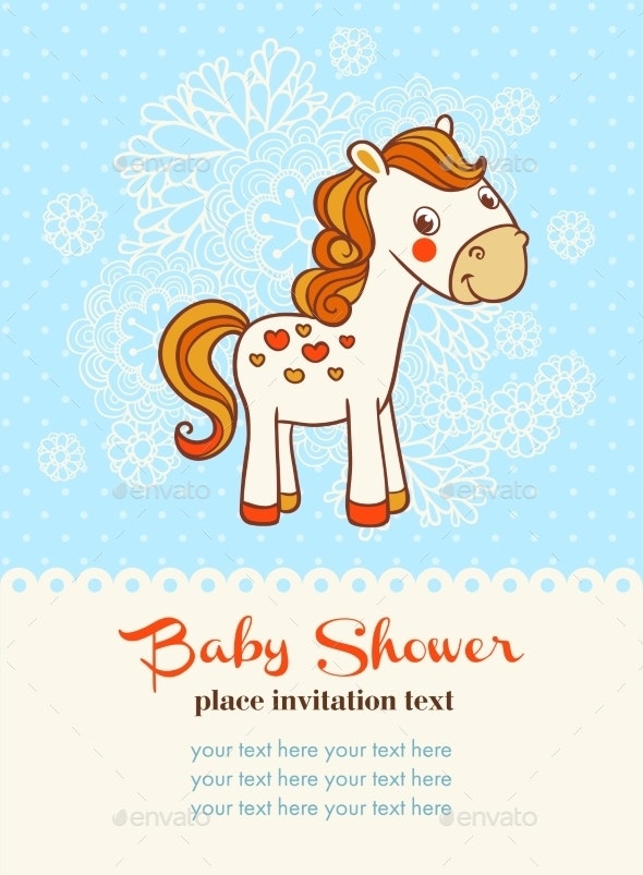 Baby Shower Invitation Card with Horse - Flowers & Plants Nature