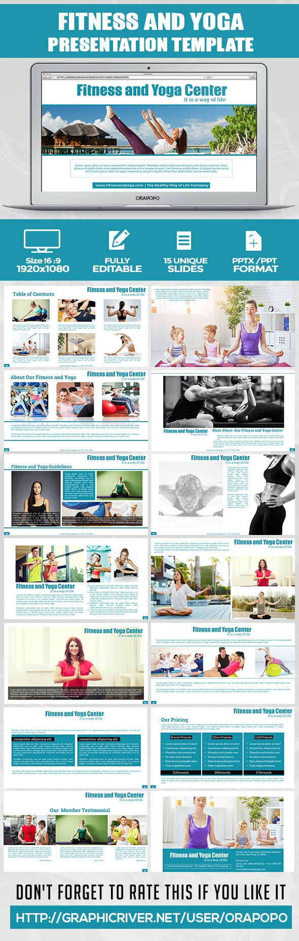 Cantiq ~ Fitness and Yoga Center Presentation  - Creative PowerPoint Templates