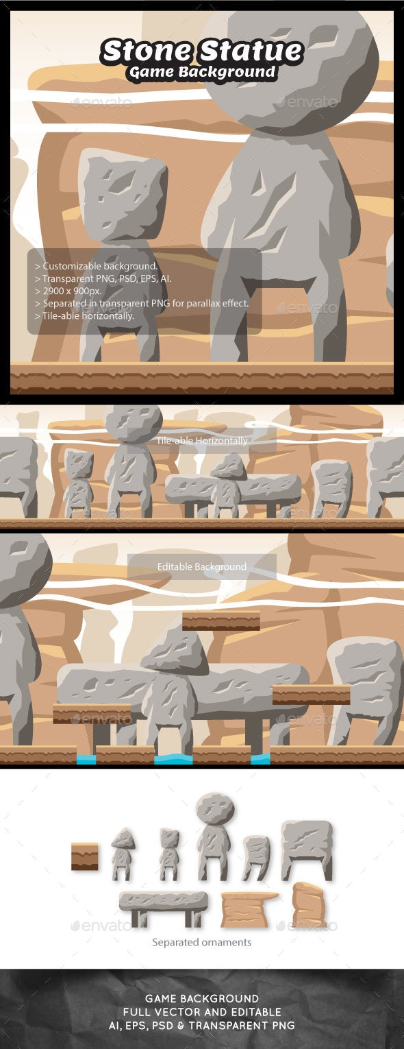 Stone Statue Game Background - Backgrounds Game Assets