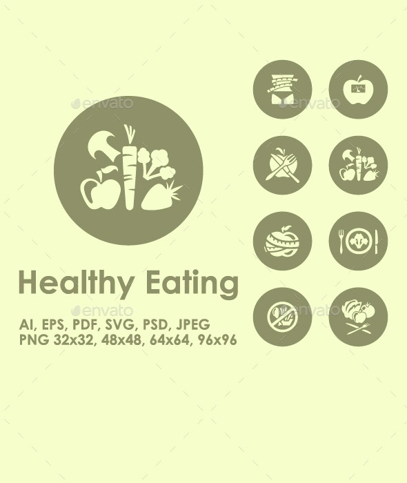 20 Healthy Eating icons - Food Objects
