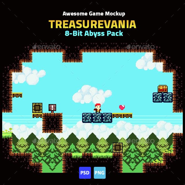 Game Mockup: 8-Bit Abyss Pack