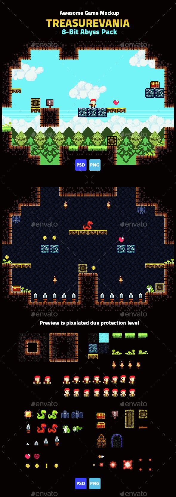 Game Mockup: 8-Bit Abyss Pack - Game Kits Game Assets