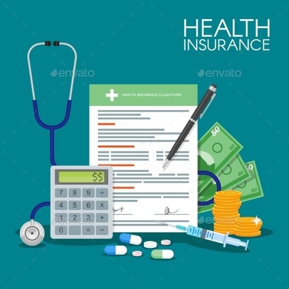 Health Insurance Form Concept Vector Illustration - Health/Medicine Conceptual