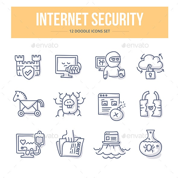 Internet Security Doodle Icons - Web Icons