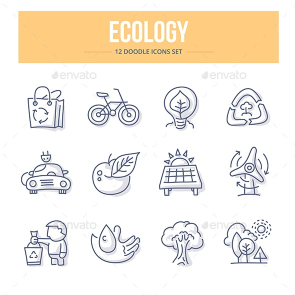 Ecology Doodle Icons - Objects Icons