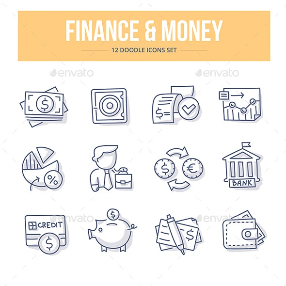 Finance & Money Doodle Icons - Business Icons