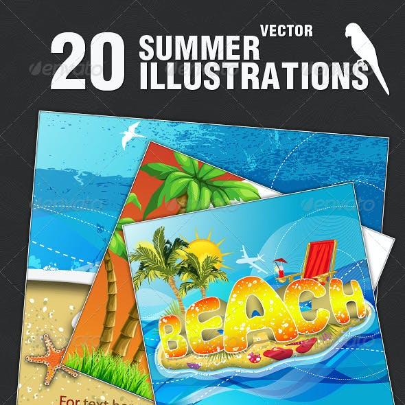 20 Tropical Summer Vector Illustrations