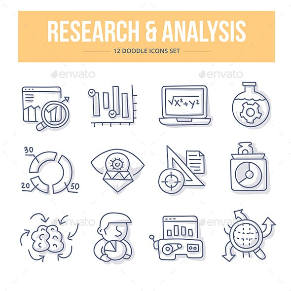 Research & Analysis Doodle Icons