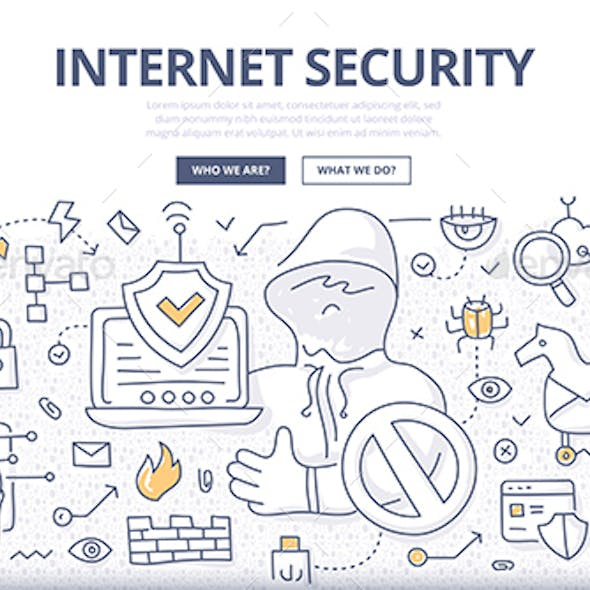 Internet Security Doodle Concept