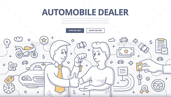 Auto Dealer Doodle Concept - Concepts Business