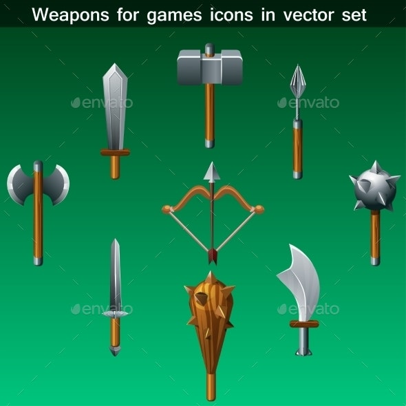 Weapons for Games Icons Set - Man-made Objects Objects