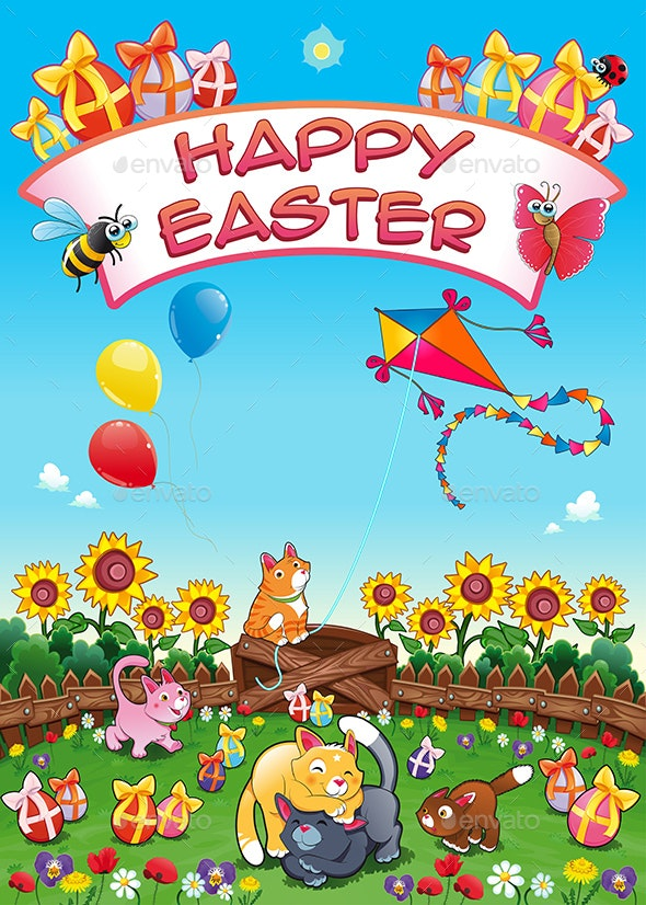 Happy Easter Card with Cats and Eggs - Miscellaneous Seasons/Holidays