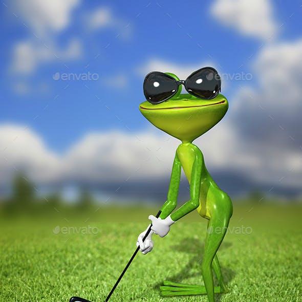 Green frog golfer