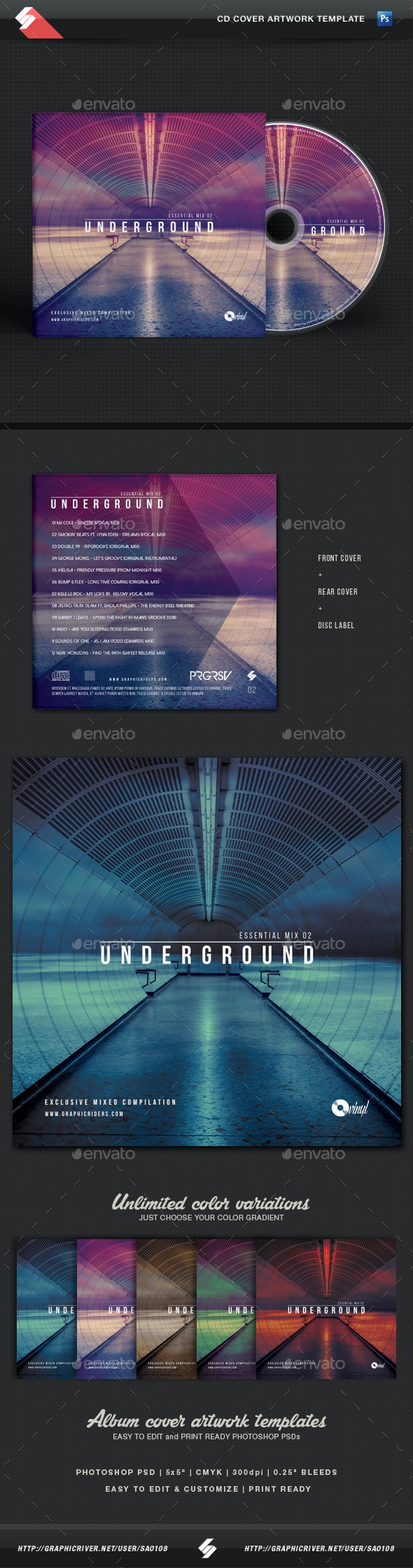 Underground - Essential Mix CD Cover Template - CD & DVD Artwork Print Templates