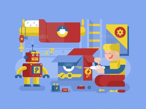 Robotics Guy Control Robot - People Characters