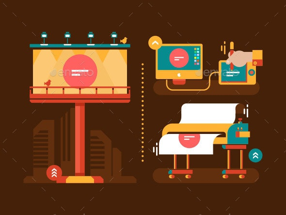 Process of Creating Outdoor Advertising - Miscellaneous Vectors