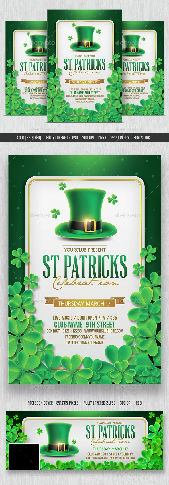 St Patricks Day Flyer & Facebook Cover - Events Flyers