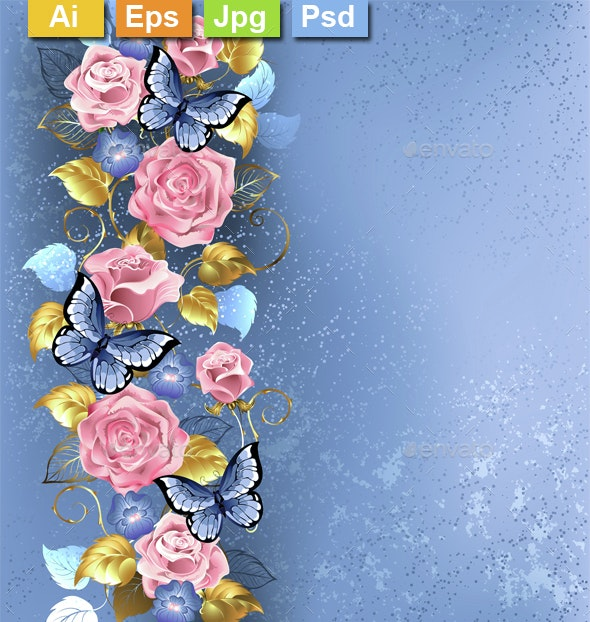 Pink Roses and Butterflies - Backgrounds Decorative
