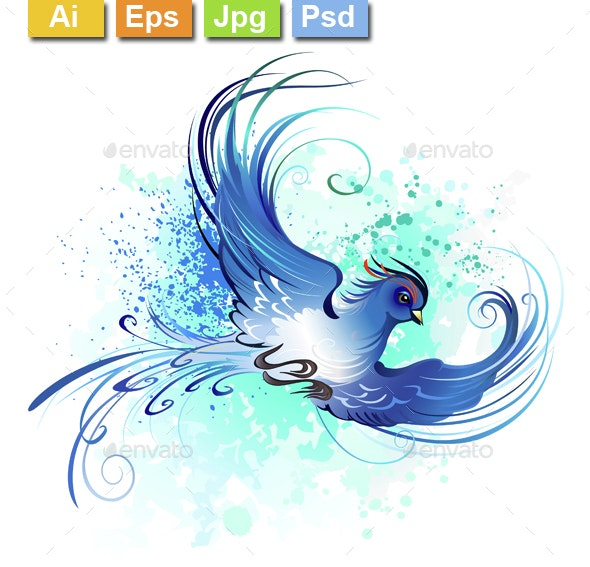 Watercolor Blue Bird - Tattoos Vectors